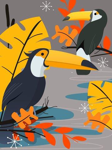 動物鳥植物葉オウム自然シンプルなフラットインプリントイラスト イラスト素材