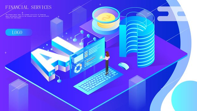 2 5d blue ai smart office financial data gradient illustration llustration image