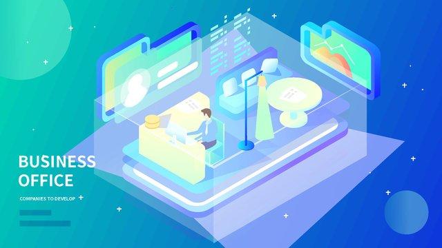2 5d व्यापार कार्यालय सांस इंटरनेट डेटा ढाल चित्रण चित्रण छवि