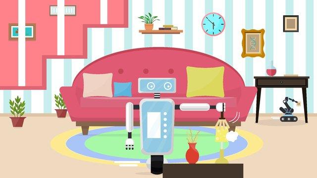 Artificial intelligence robot butler, Artificial Intelligence, Robot Housekeeper, Clean illustration image