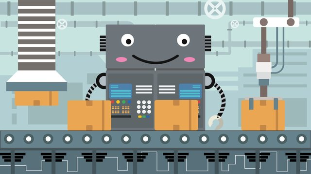 Artificial intelligence robot factory, Artificial Intelligence, Robotics, Robot Factory illustration image
