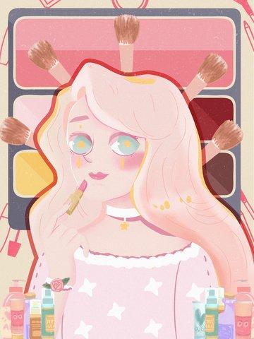 아름다운 소녀 아름다움 메이크업 일러스트 레이션 삽화 소재 삽화 이미지