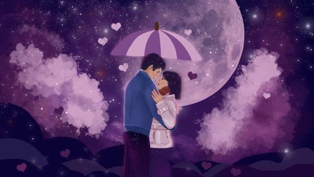 男の子と女の子の星空の下でロマンチックな青い空パープルのイラスト イラスト素材