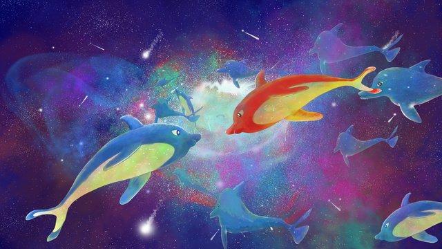 xinghai 사랑의 돌고래 커플 만나 삽화 소재