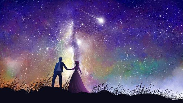 Влюбленные держатся за руки под Млечный путь Ресурсы иллюстрации