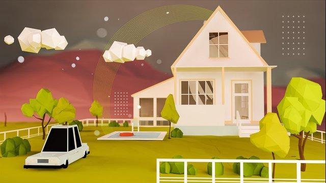 c4d創意房子車子植物樹木場景立體插畫 插畫素材 插畫圖片