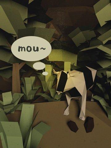 c4dクリエイティブ牛植物の森の森のシーンステレオイラスト イラスト画像