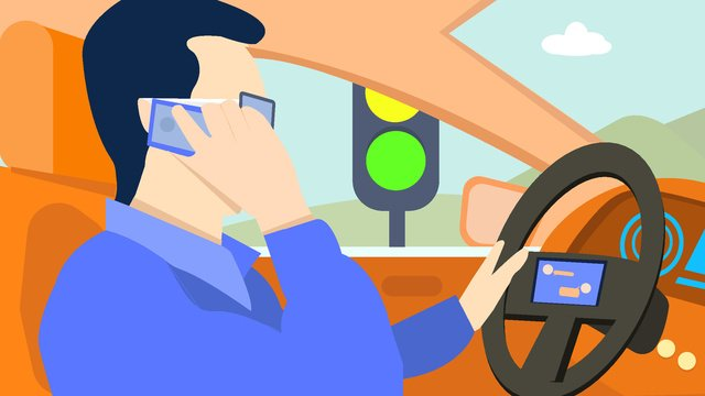 One-hand drive original illustration, Call, Driving, Traffic Light illustration image