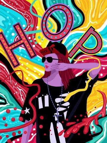 流れるキャンディーカラーのヒップホップの女の子シリーズイラスト イラスト素材 イラスト画像
