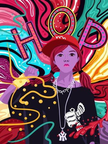 流れるキャンディーカラーのヒップホップの女の子シリーズイラスト イラスト素材