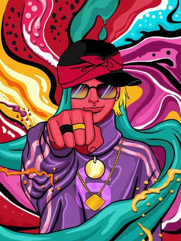 Candy colors Flowing color Colorful Hip hop style, Hip Hop Boy, Hip Hop Style Illustration, Series PNG và PSD illustration image