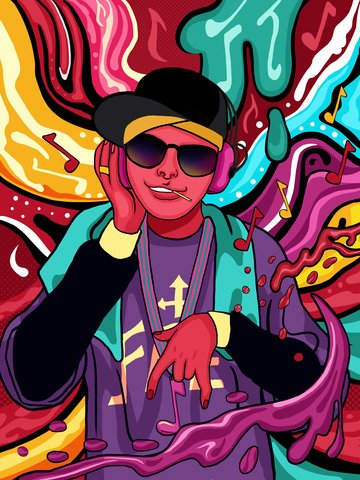 Flowing candy color hip hop boy listening to music illustration, Candy Colors, Flowing Color, Hip Hop Boy illustration image