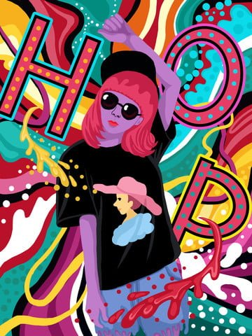 Flowing candy color hip hop girl series illustration, Candy Colors, Flowing Color, Hip Hop Girl illustration image