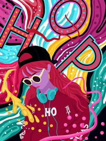 chảy kẹo màu nhạc hip   hop của cô gái series tranh minh hoạ hình ảnh minh họa