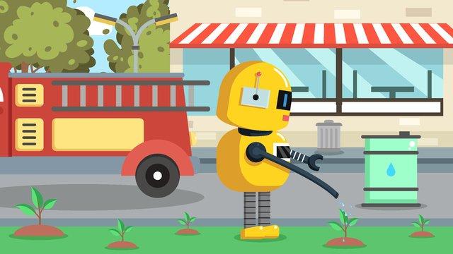 environmentally friendly robot city green belt irrigation llustration image illustration image