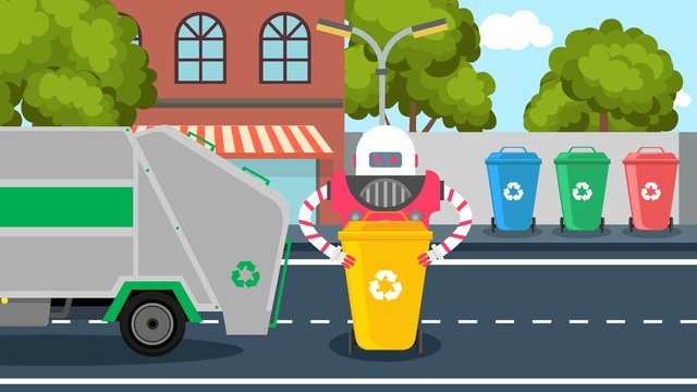 environmentally friendly robot resource recycling llustration image illustration image