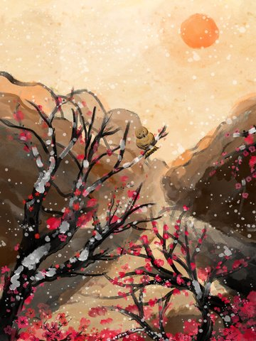 chinese style ink painting under the snow plum forest illustration image