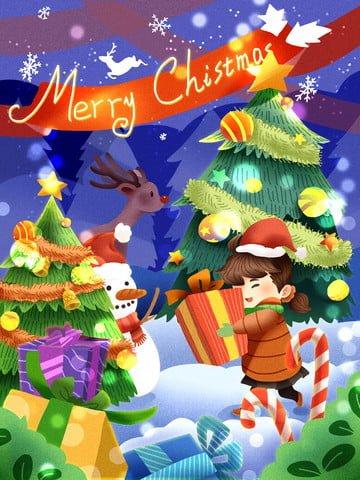 クリスマスの女の子のギフト幸せなやあ雪だるま鹿を持って イラスト素材 イラスト画像
