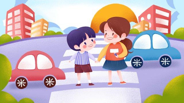 Цивилизованные дорожные сестры управляют переходом дороги Ресурсы иллюстрации Иллюстрация изображения