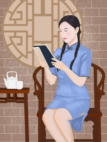 republic of china retro beauty reading llustration image