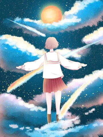 A girl who looks at the meteor on starry sky, Cure, Starry Sky, Cloud illustration image