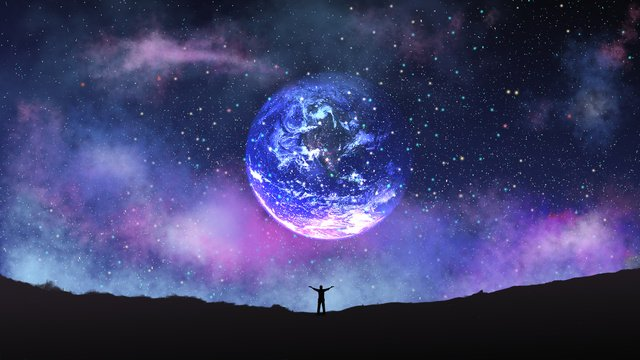 Healing system beautiful starry  fantasy planet good night hello llustration image illustration image