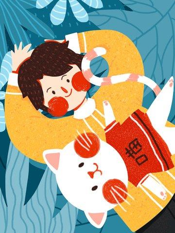 12 월 안녕하세요 소년과 고양이 귀여운 미니멀리즘 원래 그림 삽화 소재