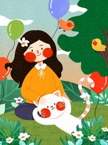 12月のかわいい女の子と猫のかわいいミニマリストオリジナルイラスト イラスト画像