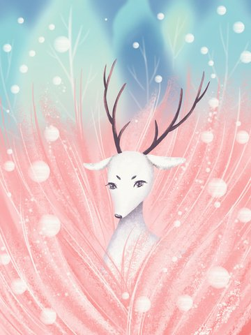 healing the dreamy white deer in pink forest llustration image