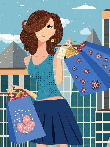 sáng sớm cô gái mua đồ ăn trên đường bằng phẳng minh họa gió Hình minh họa Hình minh họa