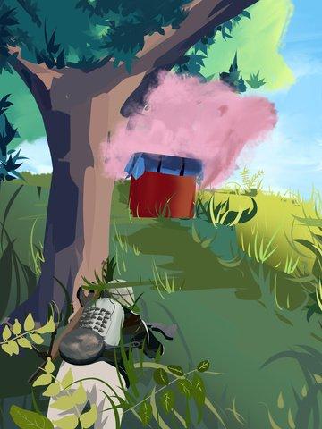 Eat chicken game fresh illustration, Eating Chicken, Airdrop Box, Field illustration image