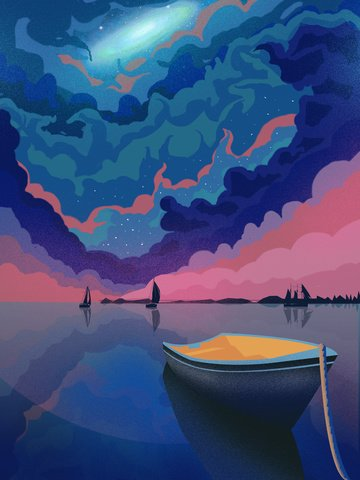 Fantasy starry sky boat Reflection Healing illustration, Sailboat, Mooring, Night illustration image