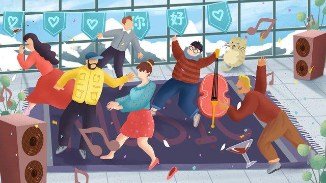 Оригинальная ручная роспись иллюстрации happy time для толстой домашней вечеринки Ресурсы иллюстрации