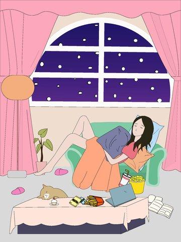 Жирный дом счастливый лежачий диван иллюстрации Ресурсы иллюстрации Иллюстрация изображения