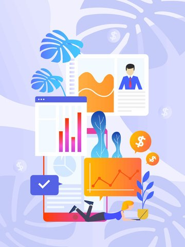 Simple and creative flat style financial management business plant illustration, Financial, Business, Girl illustration image
