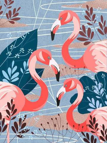 Flamingo natural imprint simple flat original illustration, Flamingo, Bird, Animal illustration image