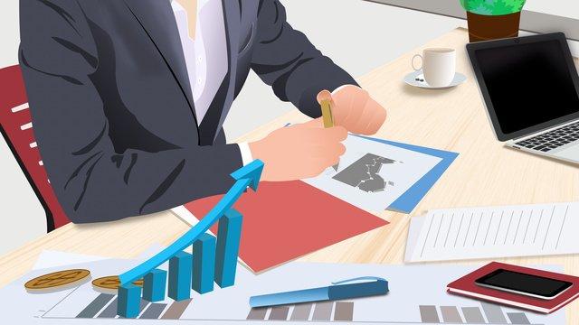 Flat financial analysis illustration, Flat, Vector Illustration, Financial Management illustration image
