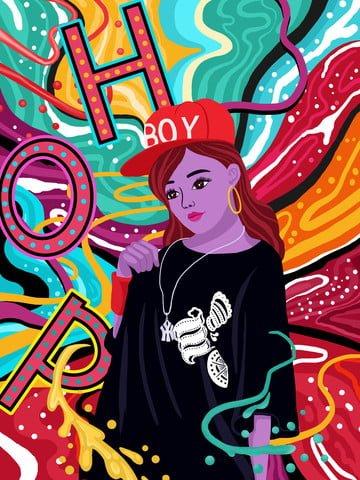dòng kẹo màu hip hop cô gái minh họa hình ảnh sẽ hình ảnh minh họa