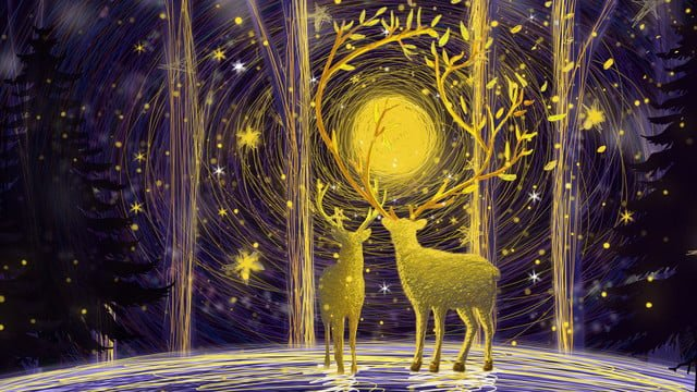 Lin shen sees deer longhorn illustration, Forest, Deer, Starry Sky PNG and PSD illustration image