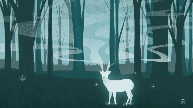 Forest white deer smoke fantasy illustration hand drawn dream cure, Forest, White Deer, Smoke illustration image