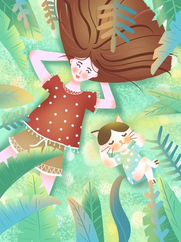 girl and cat original fresh illustration llustration image illustration image