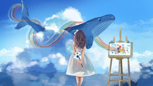 girl dengan papan lukisan biru laut melihat ilustrasi ikan paus imej keterlaluan