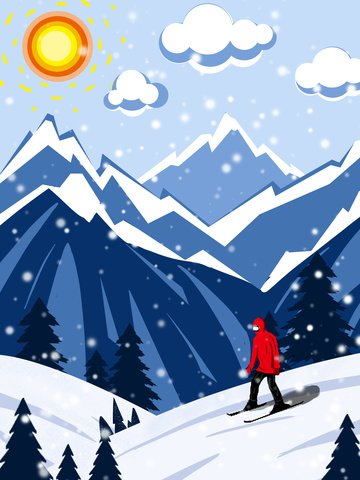 good morning hello skier illustration image