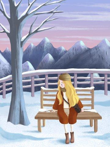 12 월 겨울 눈이 산 아름다운 꿈의 눈 현장 삽화 소재 삽화 이미지