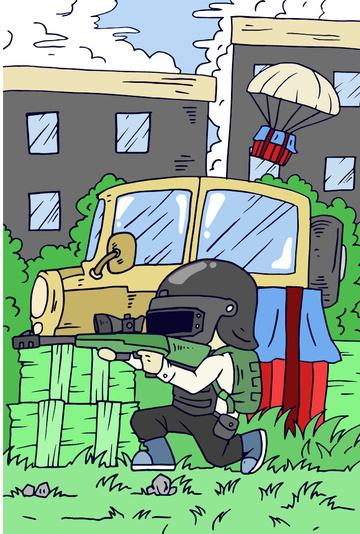 Dajidali eats chicken to the ground tonight survive gun airdrop building car, Great Luck, Eat Chicken Tonight, Jedi Survival illustration image