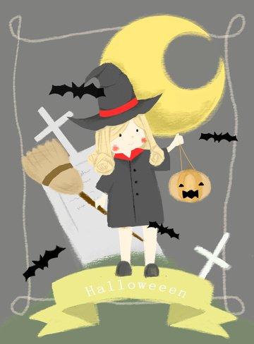 귀여운 마녀와 호박 할로윈 삽화 소재 삽화 이미지