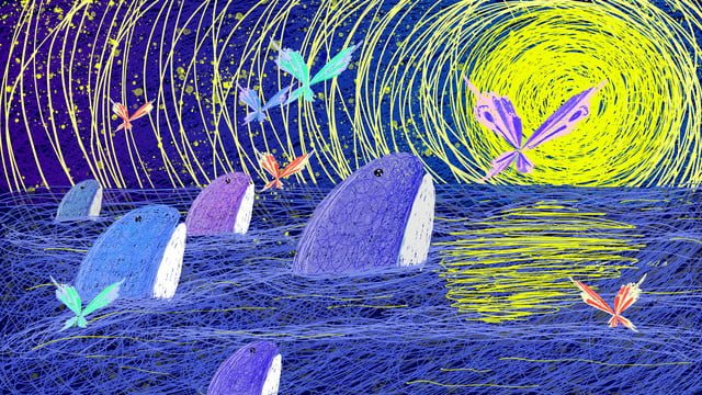 Healing illustration of the song deep sea whale, Healing, Coil, Whale illustration image