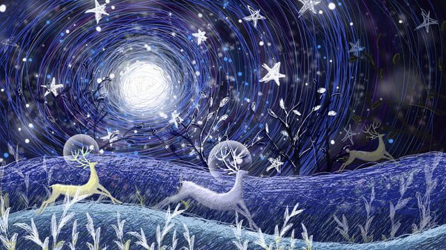 Stars illustration of a group deer chasing under the, Healing, Starry Sky, Dream illustration image