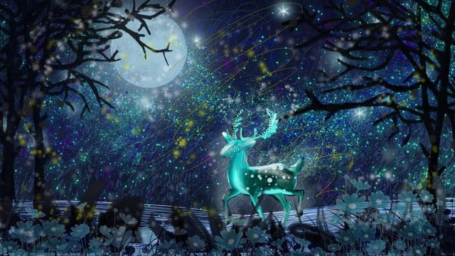 Healing starry sky illustration in the forest walking elk moon stars, Healing, Starry Sky, Illustration illustration image