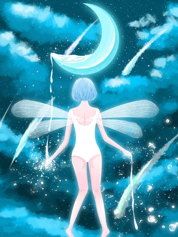 Elf girl on the starry sky, Healing, Starry Sky, Month illustration image